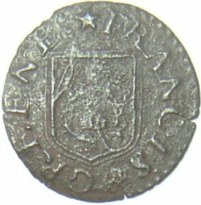 Francis Greene's trade token with his name and the apothecaries' arms...