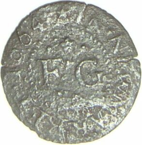... and the reverse side, showing 1664, Newmarket, and his initials FG (see below or click image for source and acknowledgements etc., ref. Images 1 & 2).