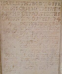 Francis Greene's memorial stone at St Mary's church, Newmarket, which is back to back with his son's above, either side of a buttress (see below or click image for source and acknowledgements etc., ref. Image 4).