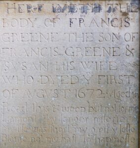 Francis Greene's son Francis' memorial stone at St Mary's church, Newmarket (see below or click image for source and acknowledgements etc., ref. Image 3).