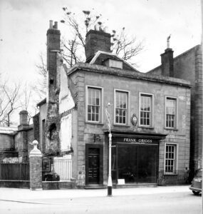 The building in Newmarket High Street that earlier had been Richard Faircloth's surgery - note the post at the new entrance to the Jockey Club, which is still visible today (see below or click image for source and acknowledgements etc., ref. Image 2).