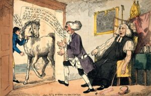 An 18th century medic distracted by a horse whilst blood-letting a patient (see below or click image for source and acknowledgements etc., ref. Image 1).