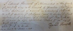 Edward Harwell's subscription to the church of England's beliefs, made when he was licensed to practise by the Bishop of Norwich (see below or click image for source and acknowledgements etc., ref. Image 1).