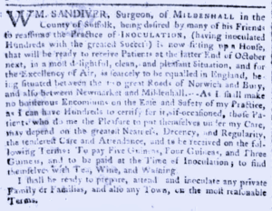 A 1767 notice from William Sandiver 1, now 'of Mildenhall', setting up an inoculation house 'between Newmarket and Mildenhall' (see below or click image for source and acknowledgements etc., ref. Image 4).