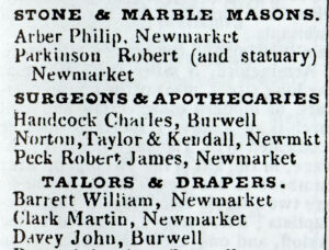 Norton, Taylor & Kendall alongside Robert James Peck as the two Newmarket practices in Pigot's Directory of 1830 (see below or click image for source and acknowledgements etc., ref. Image 1).