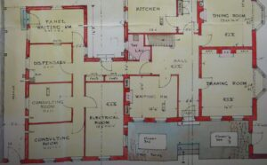 Part of the original 1924 plans for Alton House, showing the surgery complex in the left integrated with the main house on the right (see below or click image for source and acknowledgements etc., ref. Image 2).