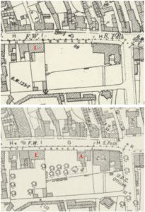 The 1901 OS map of Newmarket above and 1926 below, showing Lushington House (L) and Alton House (A) before and after the latter was built (see below or click image for source and acknowledgements etc., ref. Image 2).