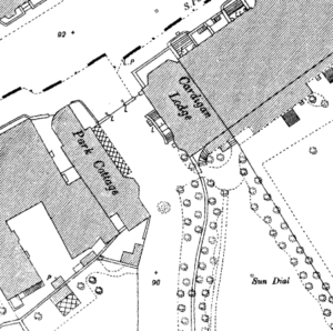 Cardigan Lodge on the 1885 Town Plan, clearly showing the side entrance (see below or click image for source and acknowledgements etc., ref. Image 2).