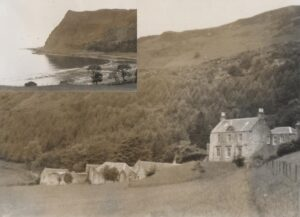 Gilbert Gray's house on the Isle of Mull, with inset showing a view from the house (see below or click image for source and acknowledgements etc., ref. Image 2).