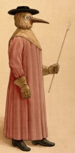 A typical costume worn by 17th century medics to visit plague patients (see below or click image for source and acknowledgements etc., ref. Image 2).