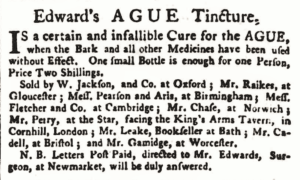 John Edward's, surgeon of Newmarket, advertising his ague cure in an Oxford Newspaper in 1772 (see below or click image for source and acknowledgements etc., ref. Image 1).