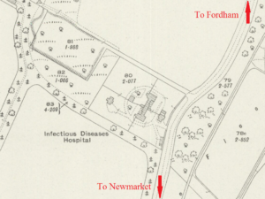 The Fever Hospital shown on the 1926 OS map as 'Infectious Diseases Hospital'; it was also known as the Exning Isolation Hospital, and was about 2 miles north of Newmarket town centre, just the other side of the A14 today, up Fordham Road (see below or click image for source and acknowledgements etc., ref. Image 1).