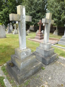 Two of the Gray family graves in Newmarket cemetery, Frederick under the cross in the foreground, Clement in the background, along with other family members mentioned on both (see below or click image for source and acknowledgements etc., ref. Image 3).