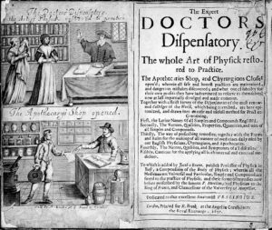 The sort of book this family might have owned, printed in 1657 about the 'Art of Physick... Apothecaries Shop, and Chyrurgions Closet' (see below or click image for source and acknowledgements etc., ref. Image 1).