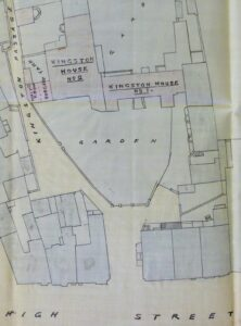 A plan from 1902 showing the two halves of Kingston House in relation to the High Street and Kingston Passage - note the small surgery area shaded in pink (see below or click image for source and acknowledgements etc., ref. Image 1).