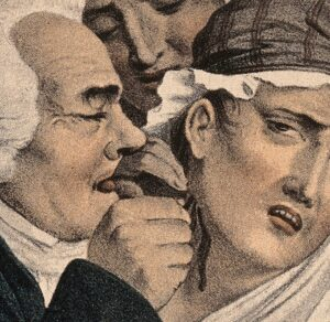 An early 19th century medic administering leeches to a patient's neck (see below or click image for source and acknowledgements etc., ref. Image 4).