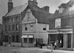 Mentmore House on the left of the Crown Inn at the turn of the 19th/20th centuries (see below or click image for source and acknowledgements etc., ref. Image 2).