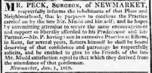 Robert Peck's public notice in January 1819 to state that's he's continuing the practice of the late Woodward Mudd (see below or click image for source and acknowledgements etc., ref. Image 3).
