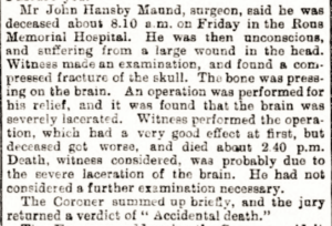 All in a day's work for a 'typical family doctor' in 1901 - how he was described posthumously in 1944, and see the references below for a similar even later case; note 'was' on the first line should read 'saw' (see below or click image for source and acknowledgements etc., ref. Image 2).