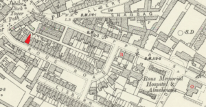 Rous Villa marked in red on the 1901 OS map of Newmarket, Brackley House with a 'B', and Oakfield House with an 'O' - see the page on Oakfield Surgery (see below or click image for source and acknowledgements etc., ref. Image 1).