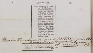 Robert Peck's qualifications for working as a poor law medical officer - see the 22nd October 1844 reference below (see above or click image for source and acknowledgements etc., ref. Image 5).