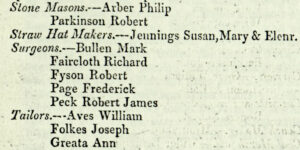 Robson's trade directory 1839, showing Frederick Page alongside the end of one practice chain (Mark Bullen) the continuation of another (Robert James Peck) and two other new practices (Richard Faircloth and Robert Fyson) - the bottom four practices would go on to provide the medical services for Newmarket throughout the 19th century (see below or click image for source and acknowledgements etc., ref. Image 3).