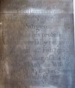 William Sandiver 1's memorial inside the base of the bell tower at St Mary's church, Newmarket, shared with his daughter in law, Mary, wife of William Sandiver 2, described as 'Jun. Surgeon' (see below or click image for source and acknowledgements etc., ref. Image 5).