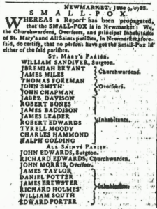 A 1788 newspaper notice declaring Newmarket free from smallpox (see below or click image for source and acknowledgements etc., ref. Image 2).