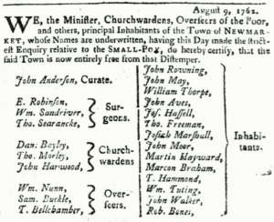 Newspaper notice declaring Newmarket free from smallpox in August 1762 (see below or click image for source and acknowledgements etc., ref. Image 3).