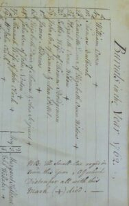Burials in Newmarket St Mary's parish register 1762, showing smallpox deaths marked with a '+' as indicated by the note at the bottom of the image (see below or click image for source and acknowledgements etc., ref. Image 2).