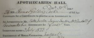 Norton, Taylor and Kendall shown on Thomas Golding Cocke's examination records from the Society of Apothecaries in 1830 - note, interestingly the bottom line shown here appears to call the practice Norton & Co. (see below or click image for source and acknowledgements etc., ref. Image 2).