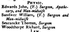 The Newmarket, Cambridgeshire, 'physic' (i.e. medical) section in the 1791 Universal British Directory - note the typo 'w' for 'iv' in Sandiver (see below or click image for source and acknowledgements etc., ref. Image 1).