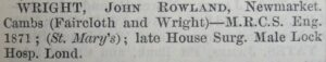John Wright's entry in the 1878 Medical Directory, showing him in partnership with Richard Faircloth (see below or click image for source and acknowledgements etc., ref. Image 1).
