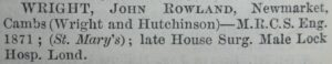 John Wright's entry in the 1881 Medical Directory, showing him in partnership with Walter Hutchinson (see below or click image for source and acknowledgements etc., ref. Image 2).