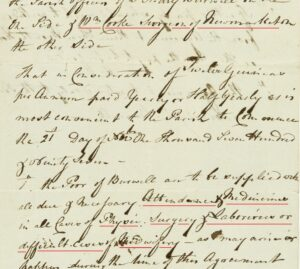 Part of William Cooke surgeon of Newmarket's 1797 agreement to supply the poor of Burwell with attendance and medicines in cases of physic, surgery and labourious or difficult cases of midwifery (see below or click image for source and acknowledgements etc., ref. Image 2).