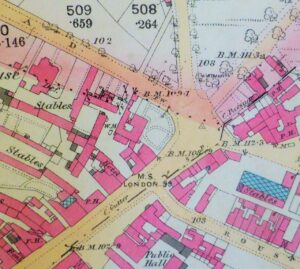 The 1886 OS map of Newmarket showing the Fyson's property set back at the junction between Exeter Road - top left, and the High Street - bottom left (see below or click image for source and acknowledgements etc., ref. Image 2).