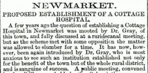Dr Gray still promoting the idea of a cottage hospital in 1874 (see below or click image for source and acknowledgements etc., ref. Image 2).