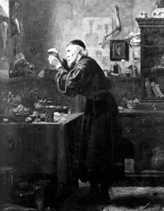 An apothecary at work (see below or click image for source and acknowledgements etc., ref. Image 4).