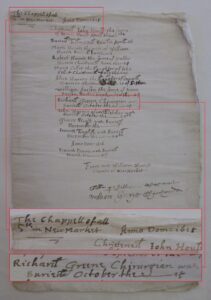 The 1615 archdeacon's transcript of Newmarket All Saint's showing Richard Greene's burial (see below or click image for source and acknowledgements etc., ref. Image 1).