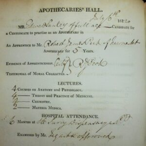Edward Sankey's 1820 LSA examination records from the Society of Apothecaries in London, the earliest example of this qualification to be obtained by someone apprenticed to a Newmarket medic, Robert James Peck (see below or click image for source and acknowledgements etc., ref. Image 5).