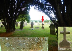 Walter Hutchinson's grave in Budleigh Salterton, Devon, inset bottom right a close-up showing how its design is identical to that of the Hutchinson graves 150 miles north in Kimbolton, Herefordshire (see image above) and inset bottom left a close-up of the main text, which mentions Newmarket, and interestingly his qualification MRCS, the 'E' standing for England (see below or click image for source and acknowledgements etc., ref. Image 4).