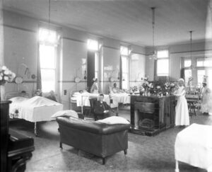 A scene from inside the Rous Memorial Hospital - the date of this photograph is not known, except it looks like the eight bedded ward mentioned above and described in the 1913 reference below (see below or click image for source and acknowledgements etc., ref. Image 7).