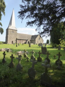 Kimbolton church, Herefordshire, with Hutchinson graves in the foreground, the same design as Walter Hutchinson's grave 150 miles away below (see below or click image for source and acknowledgements etc., ref. Image 1).