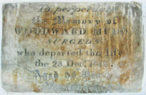 Woodward Mudd's memorial at All Saints' church, Newmarket, now high up in the porch (see below or click image for source and acknowledgements etc., ref. Image 3).