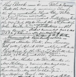 Some family details recorded in the the Peck family Bible, from a section about the Newmarket medical Pecks - note the vaccination and childhood illnesses recorded for Floyd (see below or click image for source and acknowledgements etc., ref. Image 1).