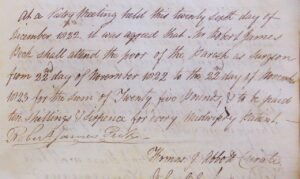 A note from the Newmarket St Mary's vestry minutes book about Robert James Peck being paid to attend the poor of the parish in 1822 (see below or click image for source and acknowledgements etc., ref. Image 2).