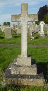 Robert Fyson's grave in Newmarket cemetery - note Ernest's cross is visible immediately underneath the right had side of Robert's, see the page on Ernest Last Fyson for an image of that (see below or click image for source and acknowledgements etc., ref. Image 4).