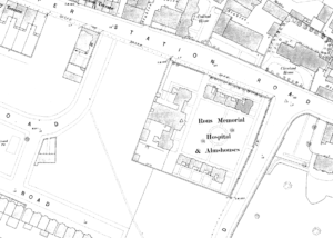 The Rous Memorial Hospital on the 1885 Town Plan - note the relative lack of surrounding buildings compared with now, and it's of special note on this website that Brackley House had not been built yet - see also the page on Rous Villa for a map of the same area a few years later (see below or click image for source and acknowledgements etc., ref. Image 3).