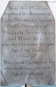 Memorial to William Sandiver 2 and his daughter Elizabeth inside the base of the bell tower at St Mary's church, Newmarket (see below or click image for source and acknowledgements etc., ref. Image 4).