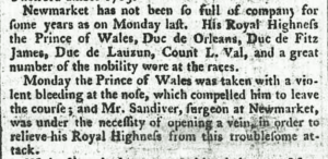 William Sandiver 2 in 1786 using blood-lettling 'opening a vein' to treat the Prince of Wales's for a nose bleed at the Newmarket races - this was the later Prince Regent / King George IV (see below or click image for source and acknowledgements etc., ref. Image 1).